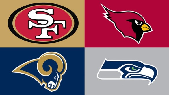 NFC West team logos, San Francisco 49ers, Arizona Cardinals, Saint Louis Rams, Seattle Seahawks