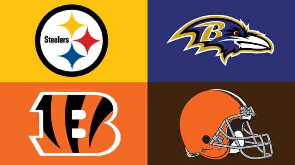 AFC North team logos, Pittsburgh Steelers, Baltimore Ravens, Cincinnati Bengals, Cleveland Browns