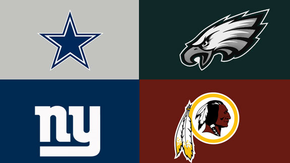 NFC East team logos, Dallas Cowboys, Philadelphia Eagles, New York Giants, Washington Redskins